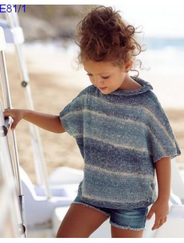Modèle Poncho Fille Laine Katia coton Oceania