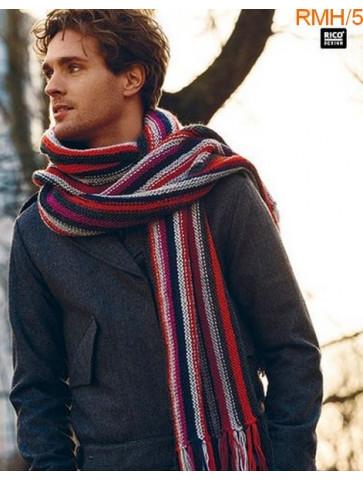 Modèle Echarpe homme longue Laine Rico Design Essentials Soft Merino Aran