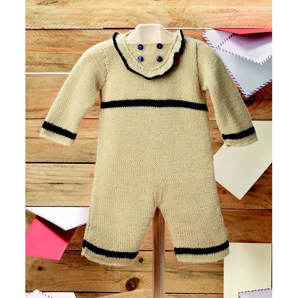 Modèle à tricoter gratuit Combinaison Bébé Laine Katia Peques