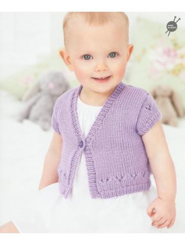Modèle veste manches courtes layette Rico Design Baby Soft