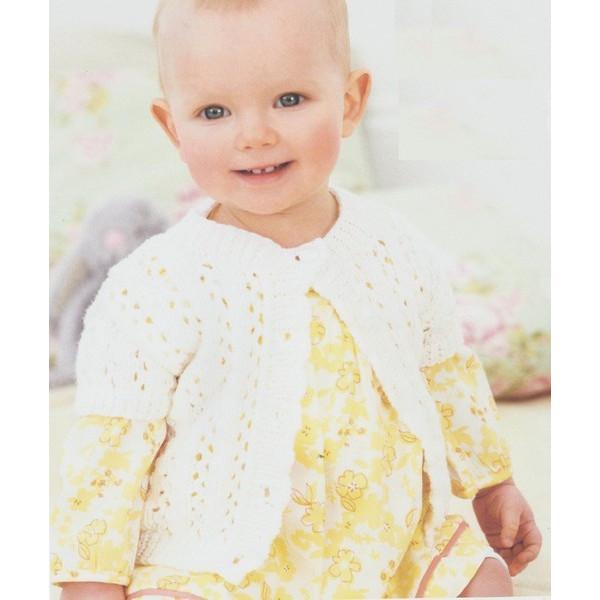 Modèle veste côtes ajourées manches courtes Rico Design Baby So Soft