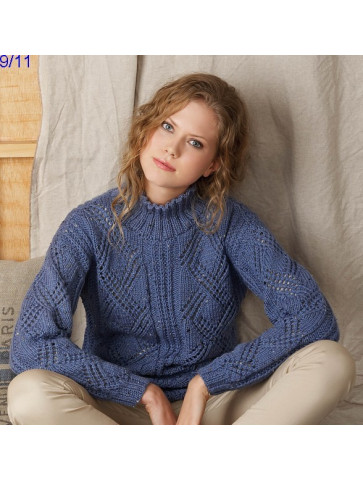 Modèle Pull Femme Laine Katia Merino tweed